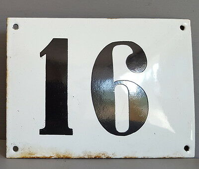 LARGE ANTIQUE FRENCH ENAMEL METAL DOOR HOUSE GATE NUMBER SIGN Black & white 16