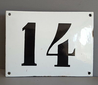 LARGE ANTIQUE FRENCH ENAMEL METAL DOOR HOUSE GATE NUMBER SIGN Black & white 14