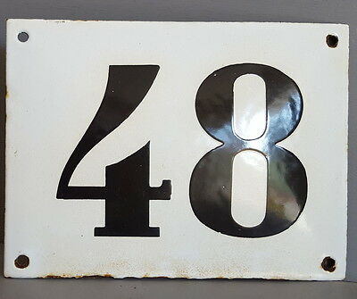 LARGE ANTIQUE FRENCH ENAMEL METAL DOOR HOUSE GATE NUMBER SIGN Black & white 48