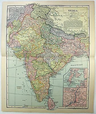Original 1903 Map of India by Dodd Mead & Company