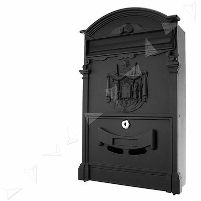 UK Retro Outdoor Lockable Post Box Large Mailbox Letter Box Mail Wall Mounted