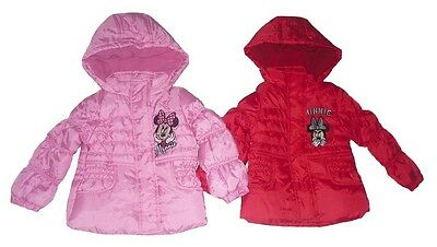 Girls Coat Padded Jacket Disney Minnie Mouse Hooded 1-8 Years