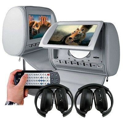 "Deluxe 2×9"" Headrest Car DVD Player with Zipper Cover Games+Wireless Headphone"