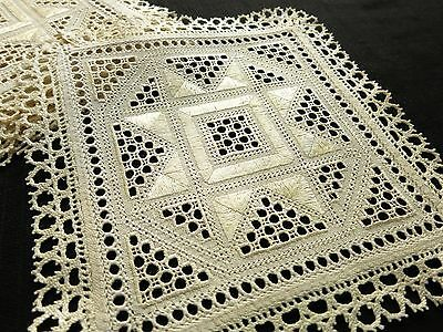 RARE & BEAUTIFUL Antique LEFKARA LACE Embroidered Linen 8 Cocktail Napkins 8.5""