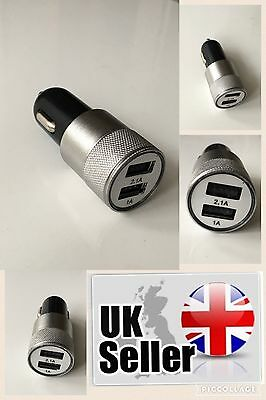 USB DUAL 2 in 1 CAR CHARGER CIGERETTE SOCKET LIGHTER SILVER IPHONE ANDROID IPAD