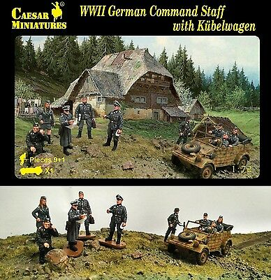 Caesar Miniatures 1/72 095 WWII German Command Staff w/Kubelwagen (10 Figures)