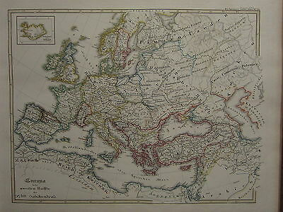 1846 SPRUNER ANTIQUE HISTORICAL MAP ~ EUROPE end of 10th CENTRUY ITALY FINLAND
