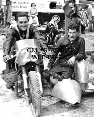 1958 Chris Vincent Motorcyle Racing Champion Photo Norton Bsa Sidecar Road Racer