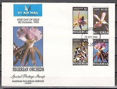 : Nigeria, Scott cat. 624-627. Nigerian Orchids on a First Day Cover.