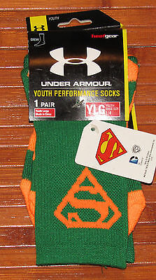 New Youth Under Armour Alter Ego Superman Crew Socks Green Orange-YLG