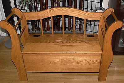 """Incredible Amish Solid Oak Wood """"Sleigh"""" Storage Hope Chest Seat Seating Bench"""