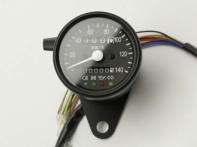 Speedo 140KPH with Warning Lights, Black, Cafe Racer, Bobber, Chopper, Custom