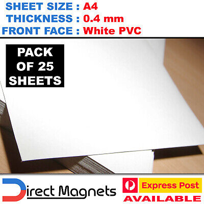 25 x A4 Blank PVC Magnet Sheets 0.4mm White Plain Office School DIY Magnetic