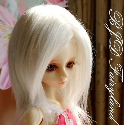 "7-8"" 7-8inch 18-19cm BJD doll wig grey-white for 1/4 SD Doll Dollfie antiskid"