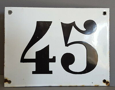 LARGE ANTIQUE FRENCH ENAMEL METAL DOOR HOUSE GATE NUMBER SIGN Black & white 45