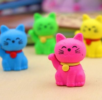 FD3859 Lucky Cute Cat Eraser Rubber Pencil Stationery Children Child Gift 1pc@