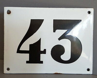 LARGE ANTIQUE FRENCH ENAMEL METAL DOOR HOUSE GATE NUMBER SIGN Black & white 43