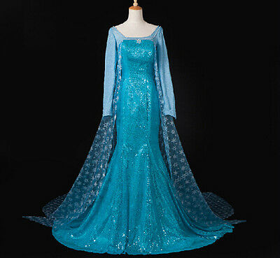 Snow Adult Queen Princess Elsa Christmas Dress Costume Cosplay Party Dress