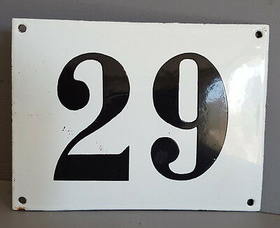 LARGE ANTIQUE FRENCH ENAMEL METAL DOOR HOUSE GATE NUMBER SIGN Black & white 29