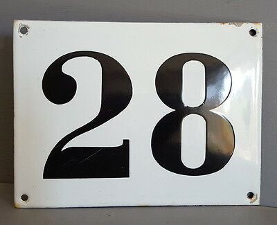 LARGE ANTIQUE FRENCH ENAMEL METAL DOOR HOUSE GATE NUMBER SIGN Black & white 28