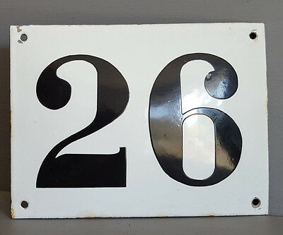 LARGE ANTIQUE FRENCH ENAMEL METAL DOOR HOUSE GATE NUMBER SIGN Black & white 26