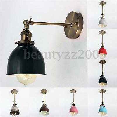 Vintage Antique Industrial Bowl Sconce Loft Cofe Rustic Wall Light Lampshade E27