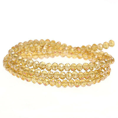 STRAND PALE GOLD AB 4mm RONDELLE CRYSTAL GLASS BEADS (149)~Bracelet~Charms (83B)