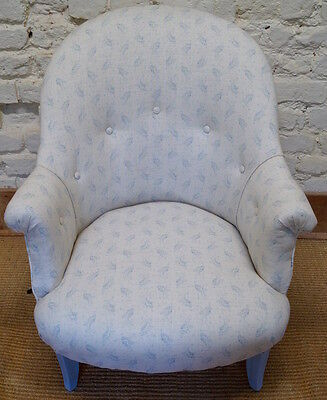 Vintage French Tub Chair upholstered in Kate Forman 'Eliza Blue' Linen