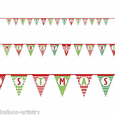 14ft Cheerful Merry Christmas Party Paper Pennant Flag Banner Decoration