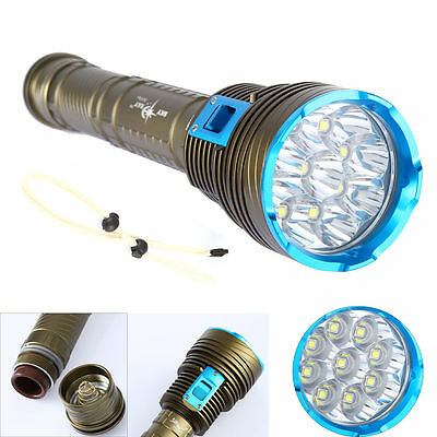 Underwater 200m 9x CREE XM-L2 LED 18000LM Scuba Diving Flashlight Torch Light