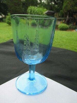 1850-80 Htf Blue Glass Goblet Mitred Diamonds Pyramid Sunken Buttons