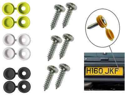 12 Piece Pack Number Plate Screw & Cap Fitting Fixing Black Yellow White Set Kit