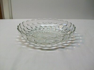 """Vintage Anchor Hocking Clear Glass """"Bubble"""" Pattern Serving Bowl"""
