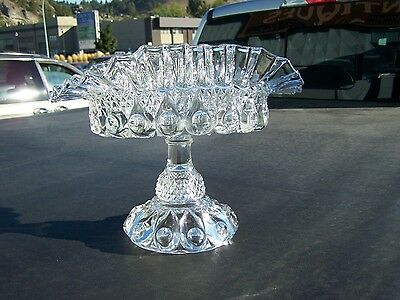 EAPG Cooperative Flint Glass ? Victorian Reverse Bull's Eye Scalloped Compote.