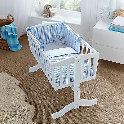 New Clair De Lune Blue Barley Bebe Rocking Cradle / Crib Quilt & Bumper Set