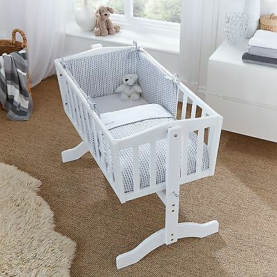 New Clair De Lune Grey Barley Bebe Rocking Cradle / Crib Quilt & Bumper Set