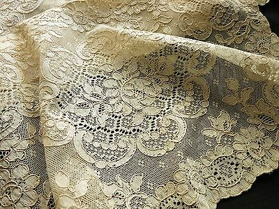 NWT Antique FRENCH ALENCON LACE Set of 12 Placemats FLOWERS Hand Run Ecru FRANCE