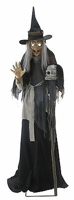 HALLOWEEN Animatronic ANIMATED LUNGING HAGGARD WITCH PROP DECOR-JUMPS CEMETARY