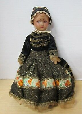 """Antique 14"""" French papier mache girl in original outfit  VGC"""