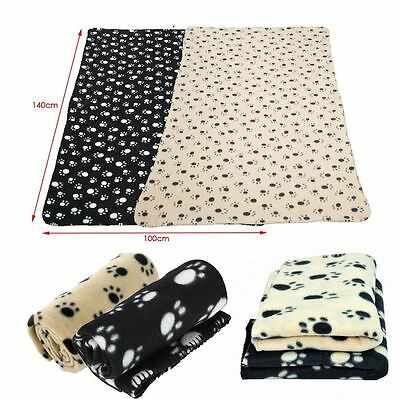 New Large Soft Fleece Pet Blanket Puppy Cat Dog Paw Print Bed Animal Warm Cosy