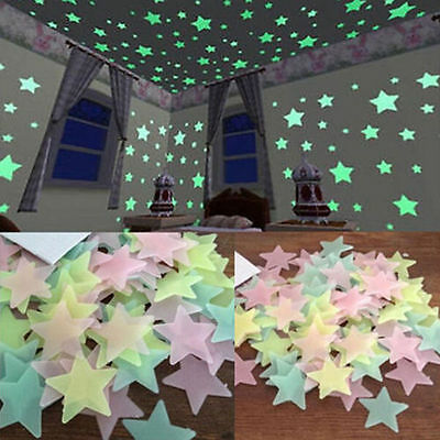 100 Glow In The Dark Moon and Stars Plastic Stickers kids Ceiling Wall Bedroom