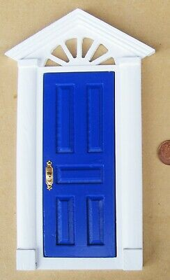 1:12th Blue Painted Wooden Fairy Front Door Dolls House Miniature Accessory 95B