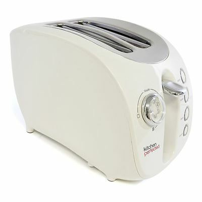 New 2 Large Slice Wide Slot Toaster with Bagel Reheat Defrost White