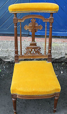 1900's Yellow Upholstered Prie Dieux with carved detailing.