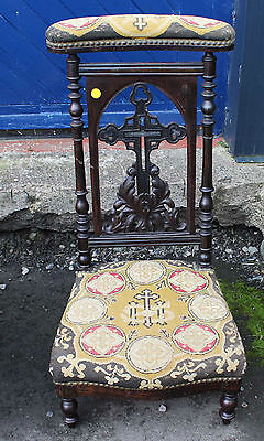 1900's Patterned Upholstered Prie Dieux with carved detailing.
