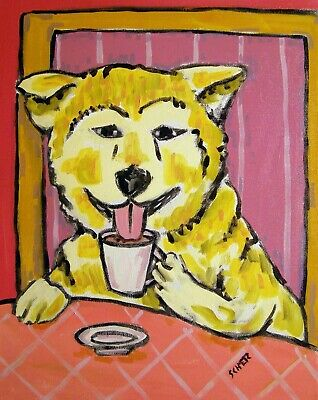 akita coffee signed art print dog gift new 8.5x11 glossy photo impressionism