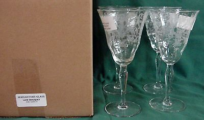 Morgantown LACE BOUQUET Water Goblets SET OF FOUR Mint in BOX Multiple Available