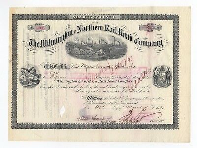 Henry Algernon DuPont - Wilmington and Northern Railroad Co. Stock Certificate
