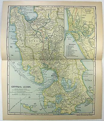 Original 1903 Dated Map of Central Luzon Philippines by Dodd Mead & Co.