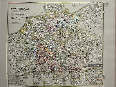 1846 Spruner Antique Historical Map Germany Rudolf Von Habsburg Maximilian 1273